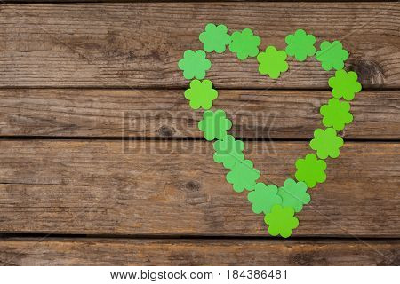 St. Patricks Day shamrocks on wooden table