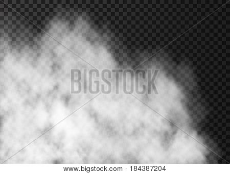 White transparent fog isolated on dark background. Mist special effect. Realistic vector fire smoke or steam texture .