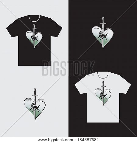 Heart of a wolf and a sword on a t-shirt. Emblem. Making black and white t-shirt. Vector image. Design for textiles, printing on fabric or paper.