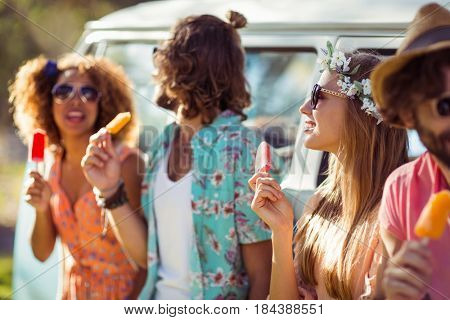 Group of friends enjoying and eating ice lolly in park