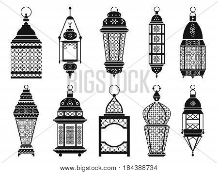 Vector silhouette of vintage arabic lanterns and lamps isolate on white background. Black lantern for ramadan, illustration of monochrome frame lantern