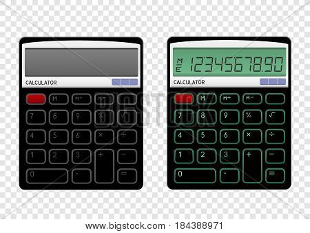 Turn on and off black calculator on transparent background. Modern count tool
