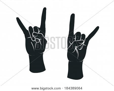Gesture. Rock sign. Two female hands with index and little finger up in form of horns. Vector illustration in sketch style isolated on a white background. Making rock-n-roll sign by hands. White lines and dark grey silhouette.
