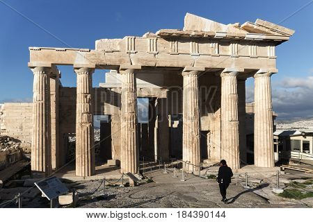 ATHENS, GREECE - JANUARY 20 2017:  Monumental gateway Propylaea in the Acropolis of Athens, Attica, Greece