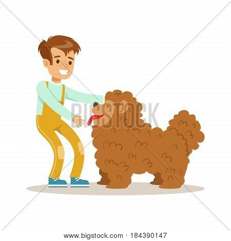 Cute happy boy petting his furry dog. Colorful cartoon character vector Illustration isolated on a white background