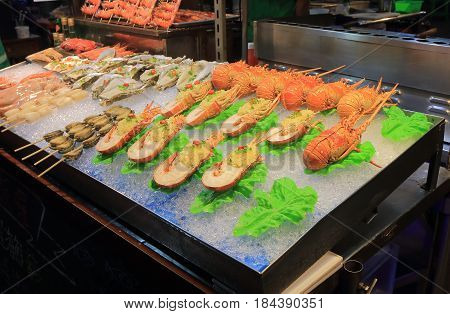 Liuhe night street market seafood shop. Liuhe market is one of the most popular markets in Taiwan.
