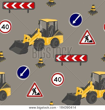 Seamless pattern with road signs and bulldozer. Under constraction