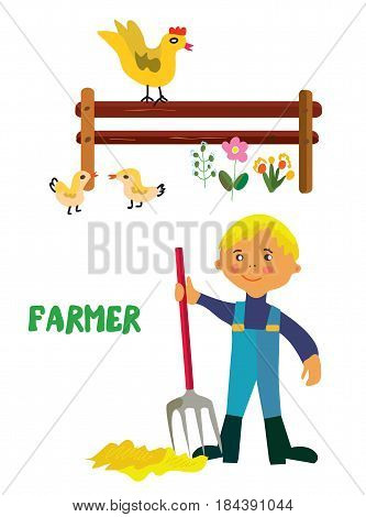 Farmer character -  cartoon vector graphic illustration