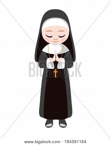 Catholic sister nun. Religious vector flat illustration