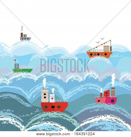 Sea and ships cartoon background for the card - vector graphic illustration