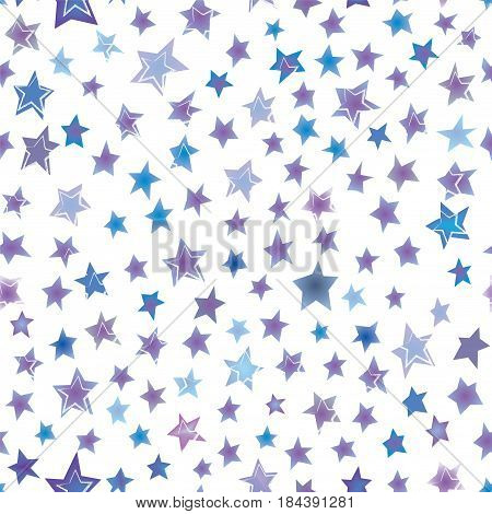 Stars hand drawn seamless pattern - vector graphic illustration