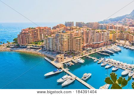 Beautiful aerial view of Monte Carlo harbour in Monaco. Cityscape Principality of Monaco French Riviera. Horizontal Image