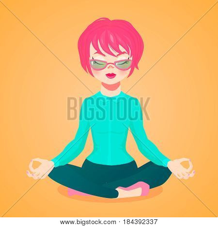 vector cartoon illustartion of a young businesswoman meditating sitting in the lotus position