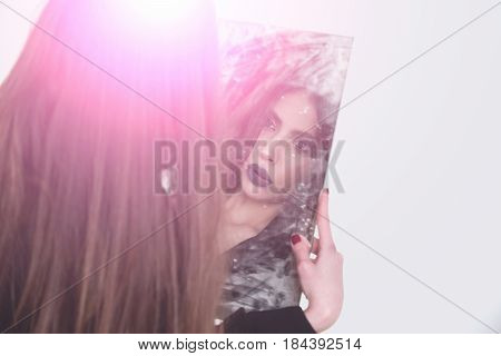 Lady Looking, Holding Dirty Mirror With Black Lipstick