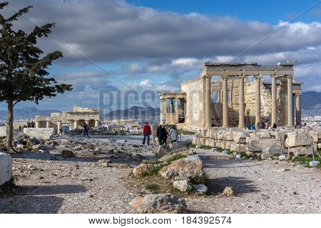 ATHENS, GREECE - JANUARY 20 2017:  Ancient Greek temple The Erechtheion on the north side of the Acropolis of Athens, Attica, Greece