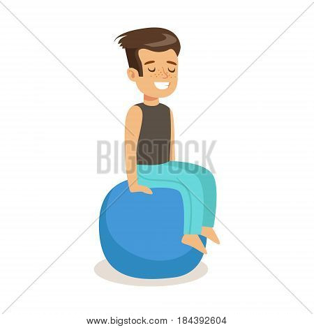 Smiling boy sitting on a pilates ball. Colorful cartoon character vector Illustration isolated on a white background
