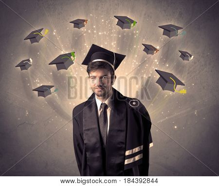College graduate with many flying hats on grunge background