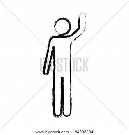 monochrome blurred silhouette of pictogram man with left arm raised vector illustration