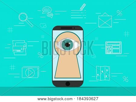 Smart phone with image of eye.Background with simple line style icons.The concept of security and protection of electronic virtual information in gadgets and social networks of the Internet.Vector illustration.