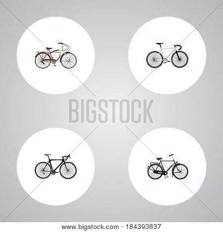 Realistic Journey Bike, Training Vehicle, Road Velocity And Other Vector Elements. Set Of Sport Realistic Symbols Also Includes Velocipede, Bike, Cruise Objects.