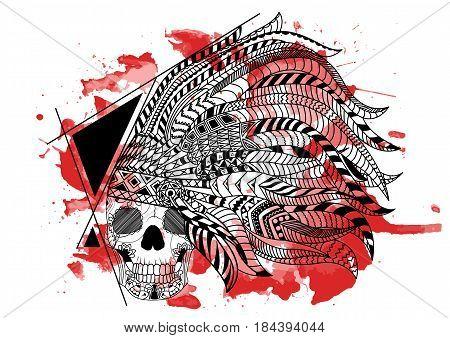 Line Art Hand : Line art hand drawing black skull vector photo bigstock
