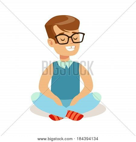 Happy little boy sitting with crossed legs on the floor. Colorful cartoon character vector Illustration isolated on a white background