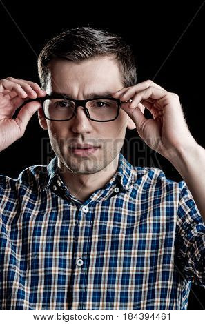 Young Guy, Nerd In Glasses And Fashionable Checkered Shirt