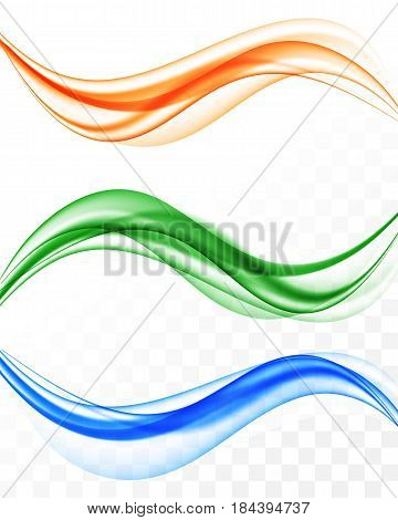 Abstract elegant light waves set in blue orange green colors and smooth dynamic style on transparent background. Vector illustration