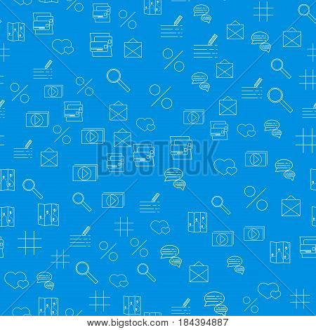 Vector Internet technology and programming Seamless Pattern with simple linear icons set on blue background. Vector illustration.