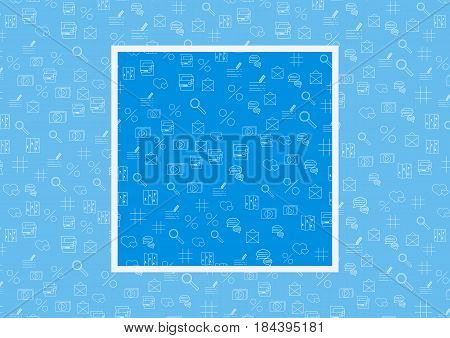 Vector Internet technology and programming Seamless Pattern with simple linear icons set on blue background with example how to use in design and decor. Vector illustration.