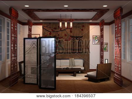 3D rendering of a home interior in japanese style