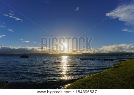 Lake Taupo in sunset North Island of New Zealand
