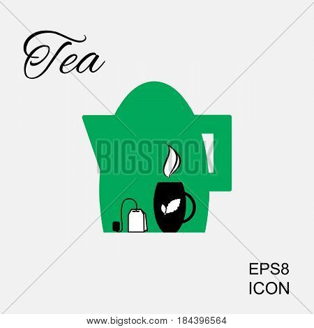 Cup of Hot Tea Icon and Tea Bag Pictogram. Kettle or Teapot Illustration