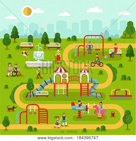Flat design landscape of park with kids playground and attractions. Infographic design of amusement park for children. Vector illustration with swing, slides, fountain, old woman, boy on wheelchair.