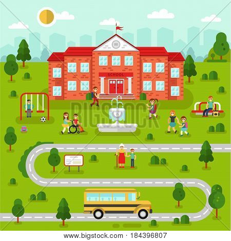 Flat design vector landscape of city map with school. Bus, swing, fountain, road, girls and boys with backpacks going to learn, old woman, disability person. Education concept. The Knowledge day.