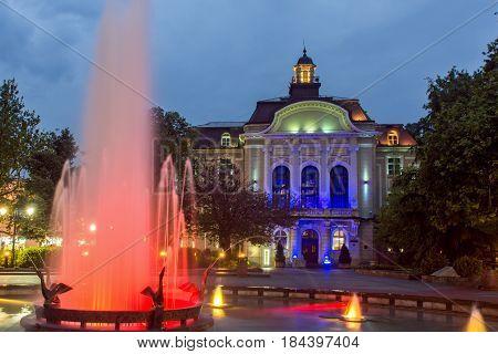 PLOVDIV, BULGARIA - APRIL 30 2017: Night photo of City Hall in Plovdiv, Bulgaria