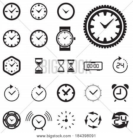 Clock Icon Isolated. Time Logo Template Pictogram. Trendy Watch Timepiece or Timer Symbol