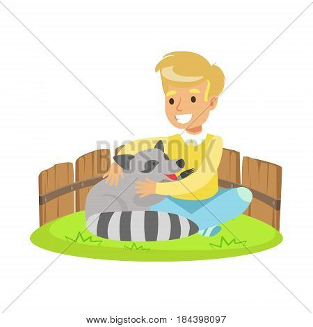 Happy little boy sitting on green grass and petting raccoon in a mini zoo. Colorful cartoon character vector Illustration isolated on a white background