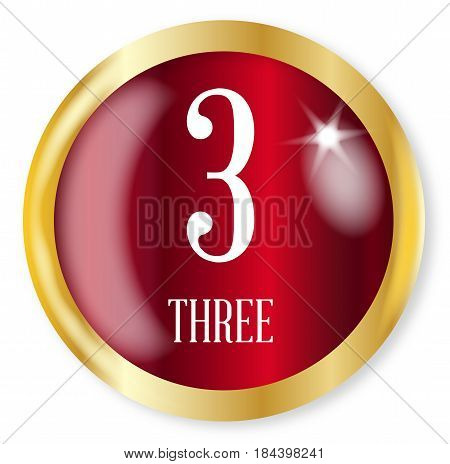 3 for Three button from the NATO phonetic alphabet/number with a gold metal circular border over a white background