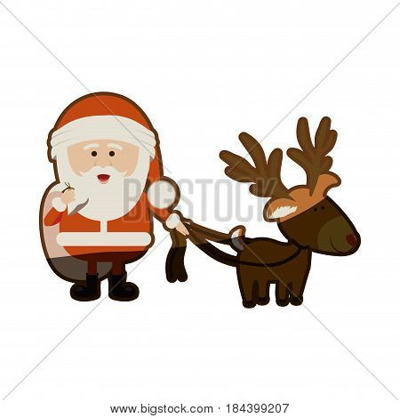 colorful silhouette of santa claus with gift bag and reindeer with rope and half shadow vector illustration