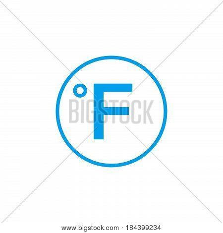 Degree sign Fahrenheit icon isolated on white background .