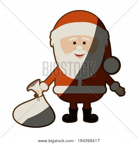 colorful silhouette of santa claus with gift bag on floor and half shadow vector illustration