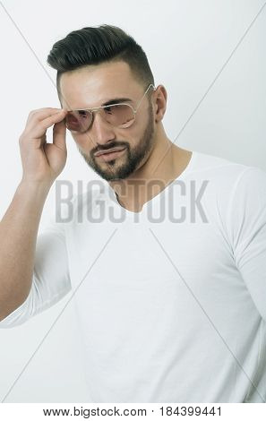 Sexy Bearded Man In Fashionable Retro Aviator Sunglasses