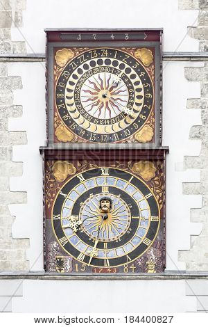 Town house clock in the town of Goerlitz, East Germany