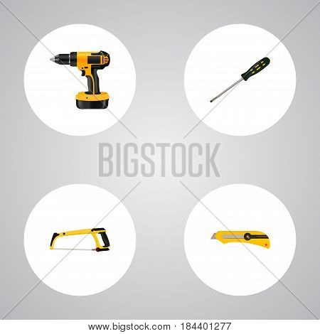 Realistic Electric Screwdriver, Carpenter, Stationery Knife And Other Vector Elements. Set Of Tools Realistic Symbols Also Includes Carpenter, Screwdriver, Knife Objects.