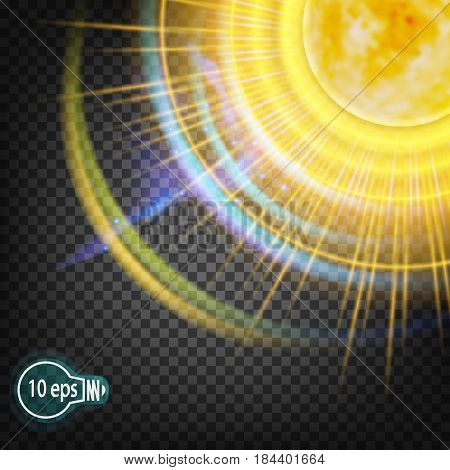 The cosmic glow of the sun star. In distant cosmos. The design concept for star nebulae isolated on a transparent background. VECTOR illustration in EPS. 10.