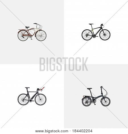Realistic Hybrid Velocipede, Folding Sport-Cycle, Journey Bike And Other Vector Elements. Set Of Lifestyle Realistic Symbols Also Includes Cruise, Bike, Folding Objects.