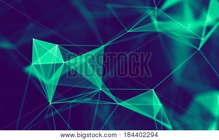 Abstract Blue Geometrical Background . Connection structure. Science background. Futuristic Technology HUD Element . onnecting dots and lines . Big data visualization Business .