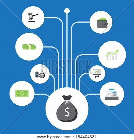 Flat Money, Billfold, Remote Paying And Other Vector Elements. Set Of Business Flat Symbols Also Includes Payment, Gavel, Remote Objects.