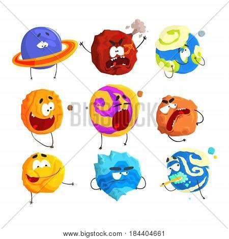 Colorful cartoon planets with funny faces and different emotions set for label design. Detailed vector Illustrations isolated on white background